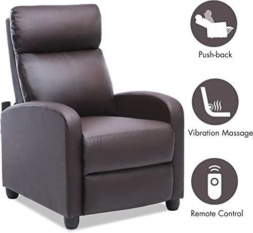 Recliner Chair Home Theater Seating Massage Recliner Single Reclining Sofa with PU Leather Padded Seat Backrest Recliner Chair for Living Room Brown