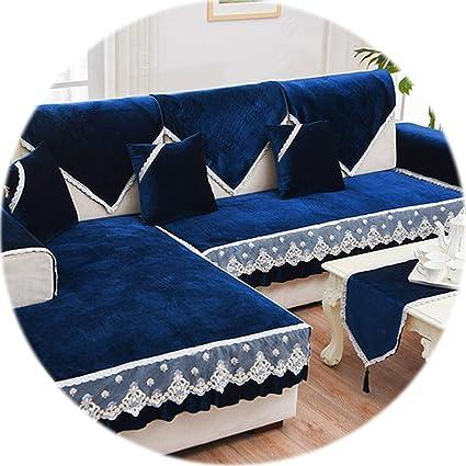 Amazon.com: HANBINGPO Modern Grey Blue Fleece Velvet Sofa ...