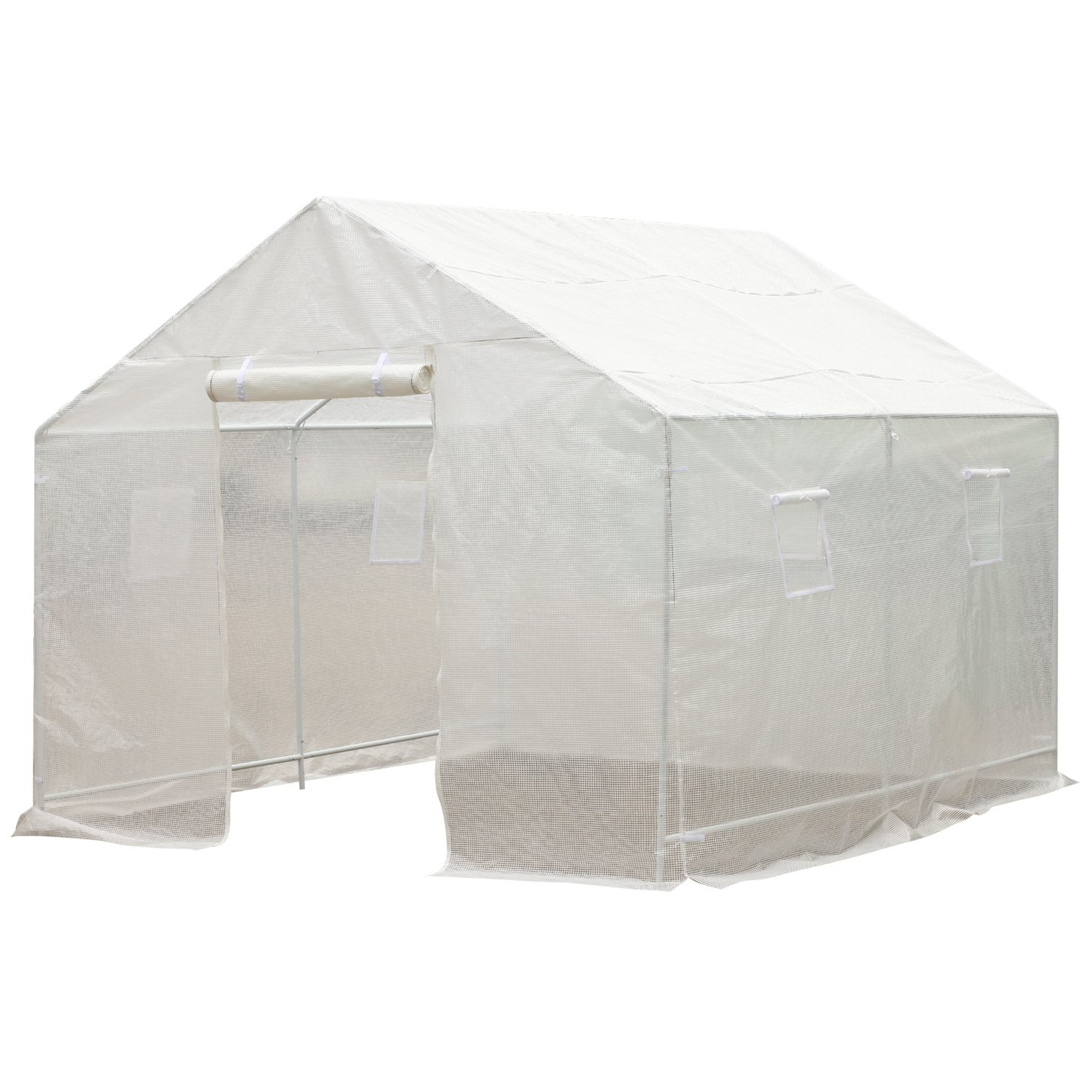 Outsunny 10' x 9.5' x 8' Outdoor Ventilated Portable Walk-In Greenhouse w/ White PE Cover