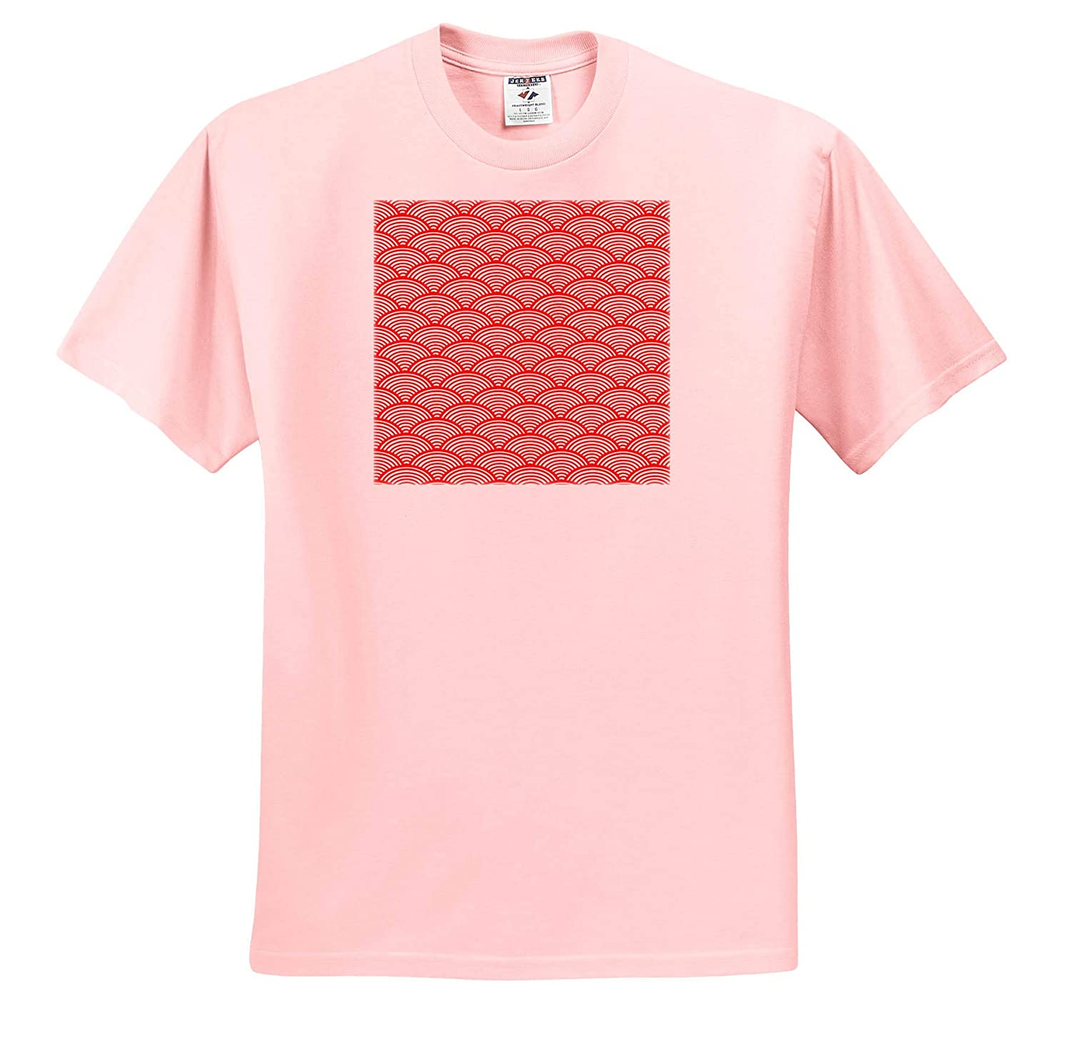 Pattern Geometrical Image of red Geometric Wave or Scale Pattern 3dRose Alexis Design Adult T-Shirt XL ts/_320008