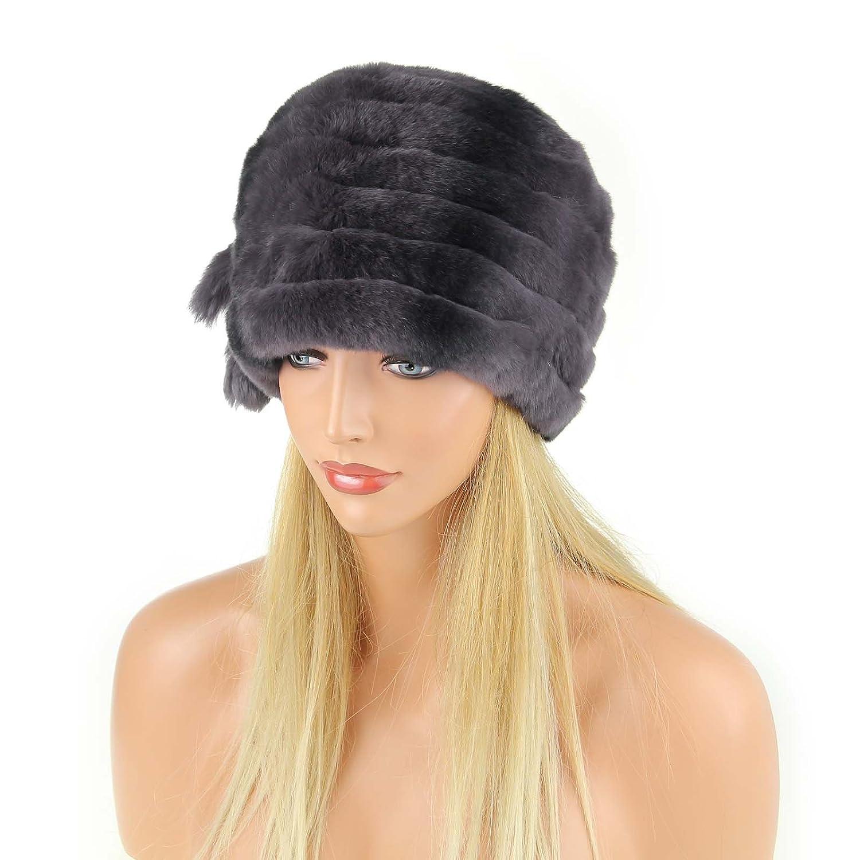 Damen Chinchilla Mütze Pelzmütze Oversizemütze Beanie Fellmütze FUCHS Wintermütze Skimütze Fox Kappe Pelzkappe Fuchsmütze