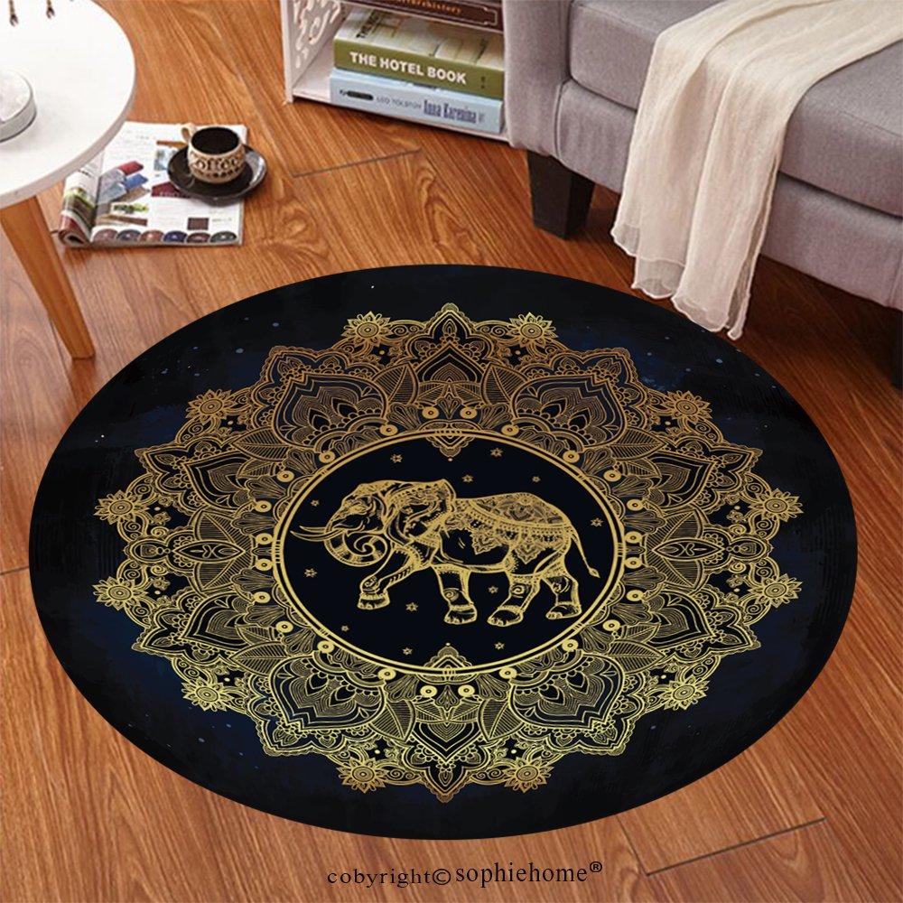 sophiehome Soft Carpet 311774117 Hand drawn ornate paisley mandala with elephant inside Ideal ethnic background, tattoo art, yoga, African, Indian,Thai, spiritual Anti-skid Carpet Round 47 inches