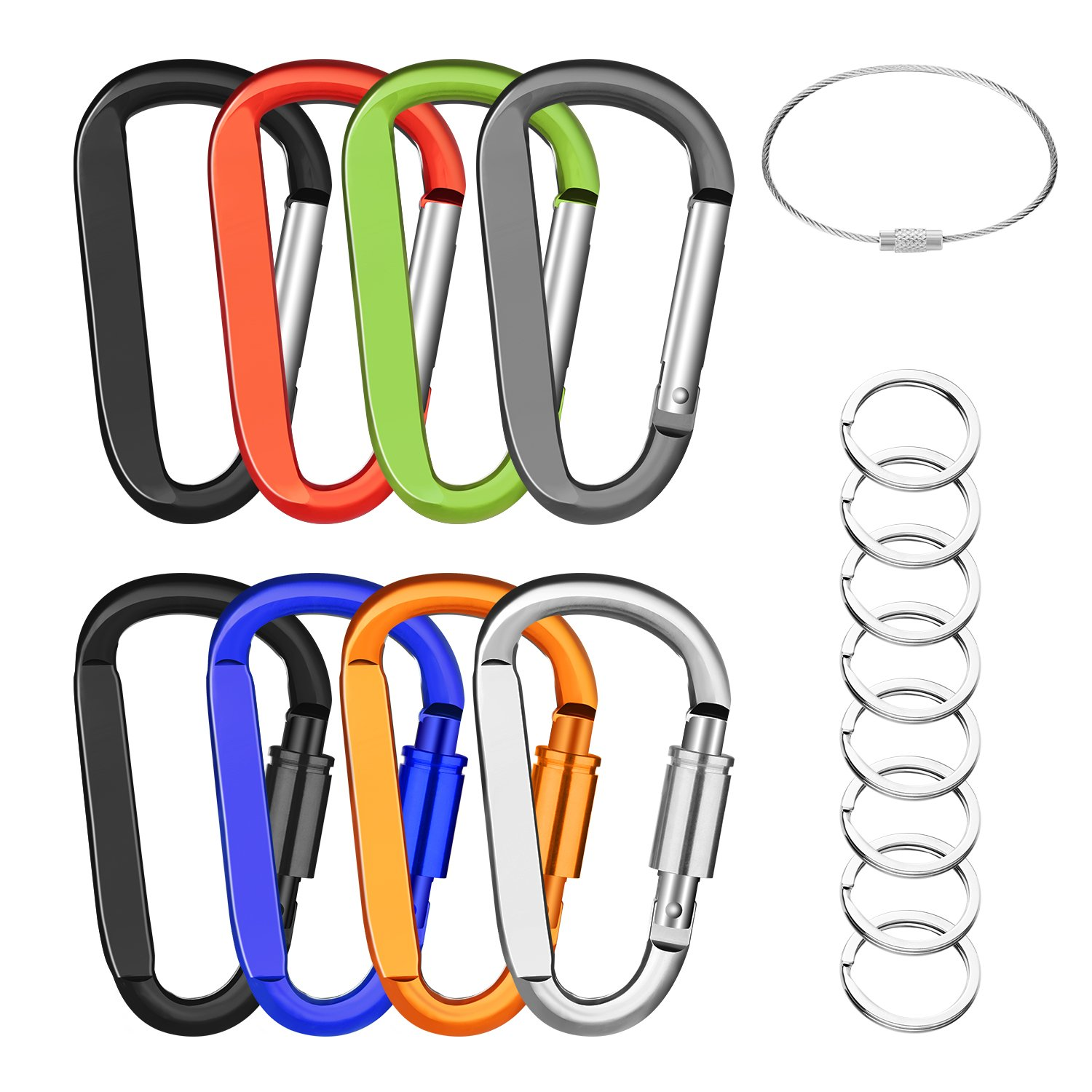 3 8PCS Durable Carabiner Clip, Improved 4PCS Locking + 4PCS Nonloking Aluminum D Ring Hook for Backpack Camping Hiking Michael Josh