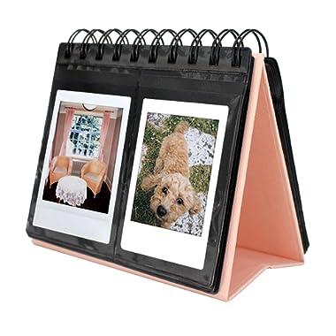 [Fujifilm Instax Mini Photo Album] 68 Pockets Desk Calendar Album for Fuji Instant Mini 70 7s 8 25 50s 90, Polaroid Z2300, Polaroid PIC-300P Film (Pink)