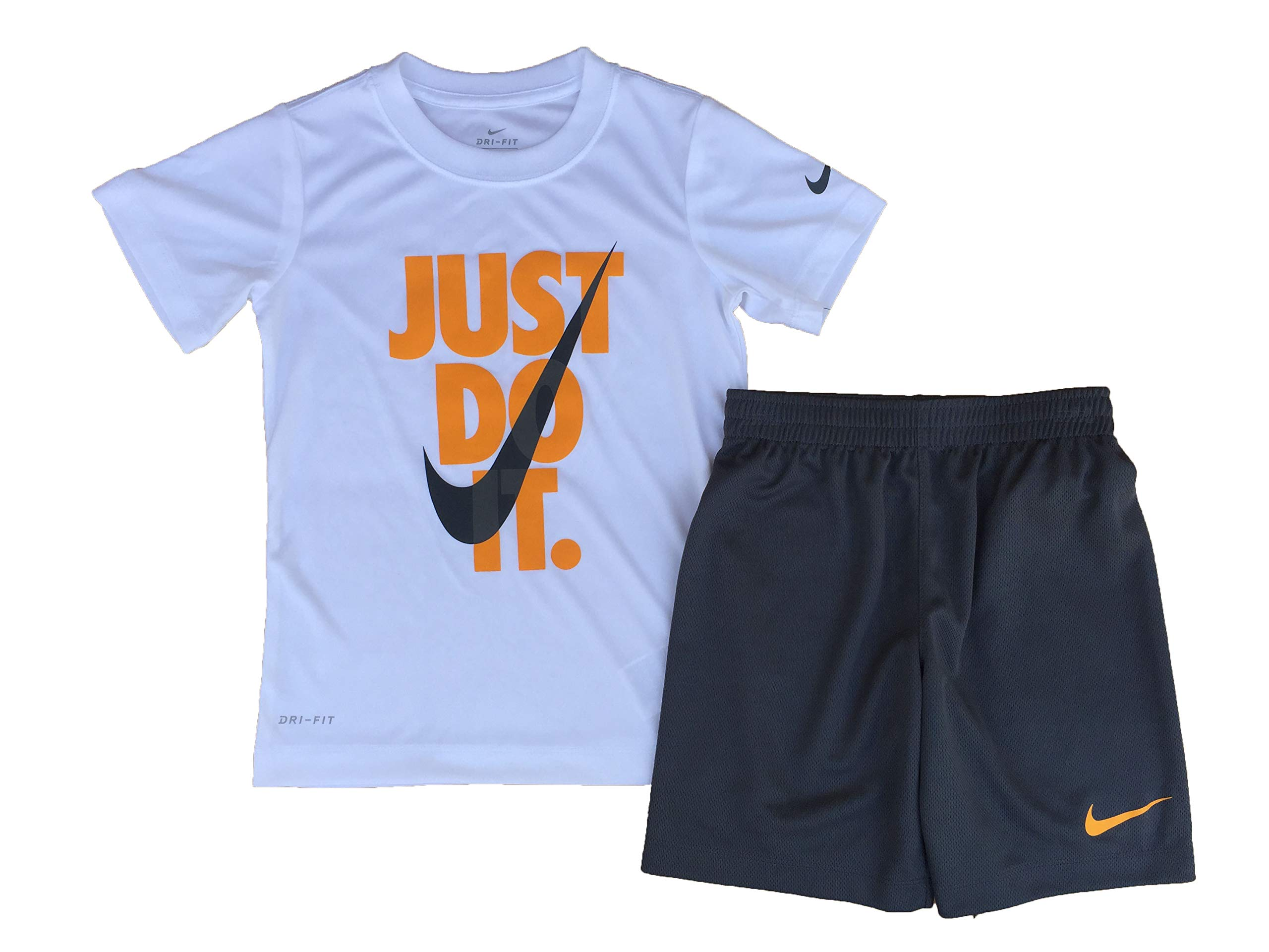 Nike Boy`s Dri-Fit T-Shirt & Shorts 2 Piece Set (White(86F026-G1A)/Yellow, 6)