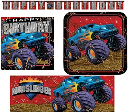 Amazon Com Paper Art Creative Converting Mudslinger Monster Trucks Birthday Party Supply Set 16 Guests Health Personal Care