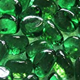 500g Glass Pebbles Green 15-20mm(approx 115)