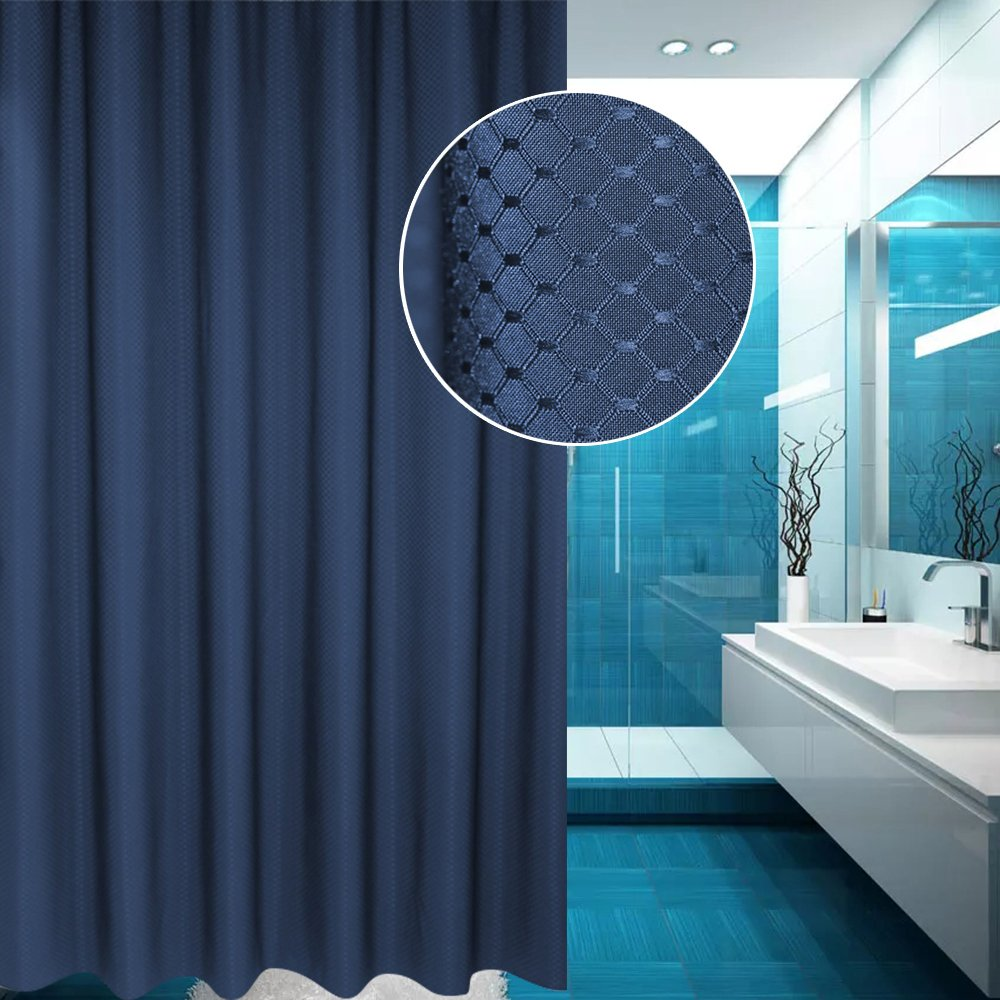 EurCross Waffle Polyester Shower Curtain Grey, Mildew-free and Waterproof Lattice Design Bath Curtains with Hooks for Shower Stall 90 x180cm