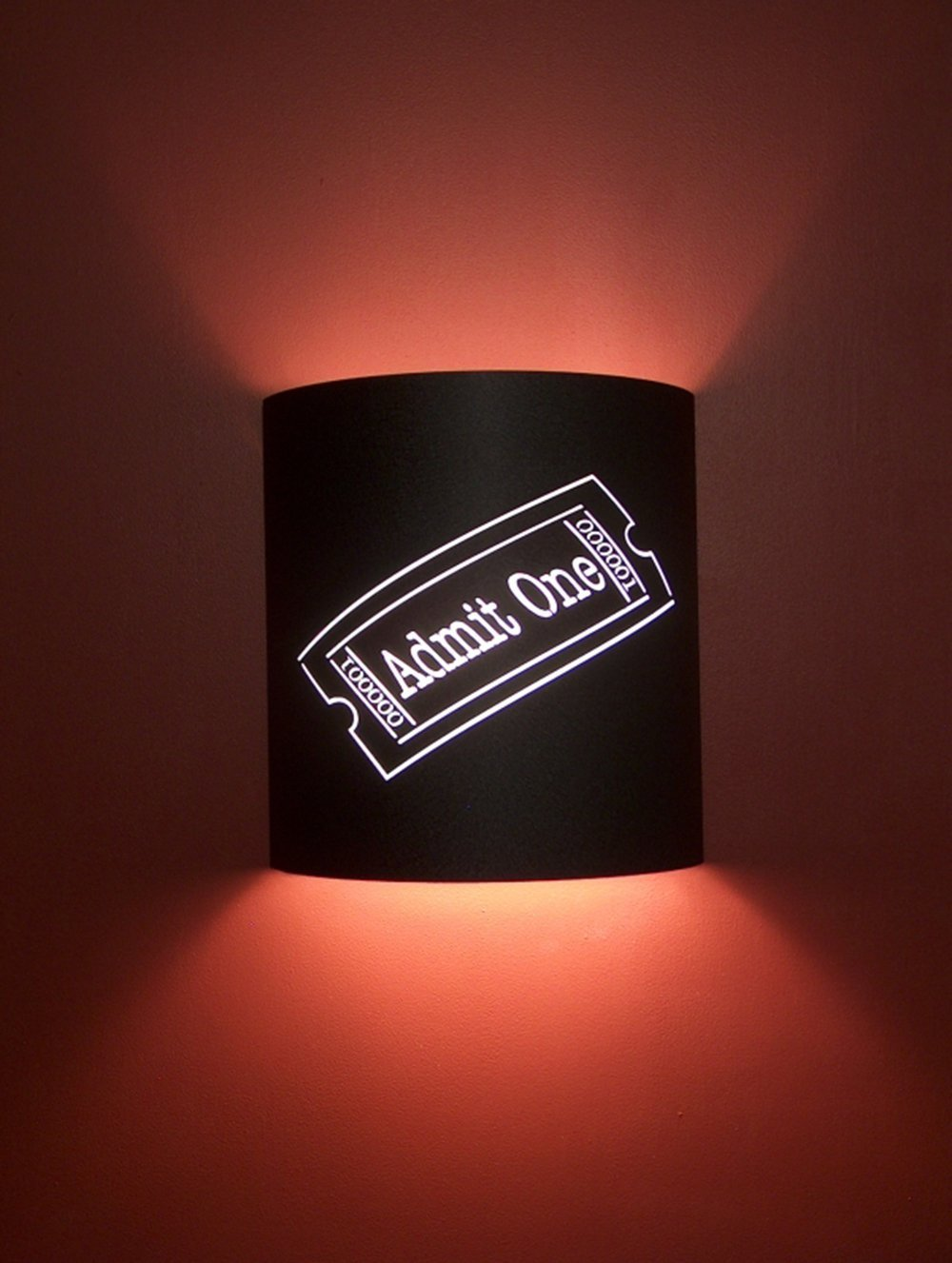 Admit One Ticket Black Home Movie Theater Sconces