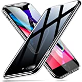 ESR iPhone 8 Plus Hülle, 9H Gehärtetes Glas Rückendeckel [Kratzfest] Handyhülle + Weicher Silikon Stoßstange [Stoßdämpfung] Schützhülle für Apple iPhone8 Plus/7 Plus(Schwarz)
