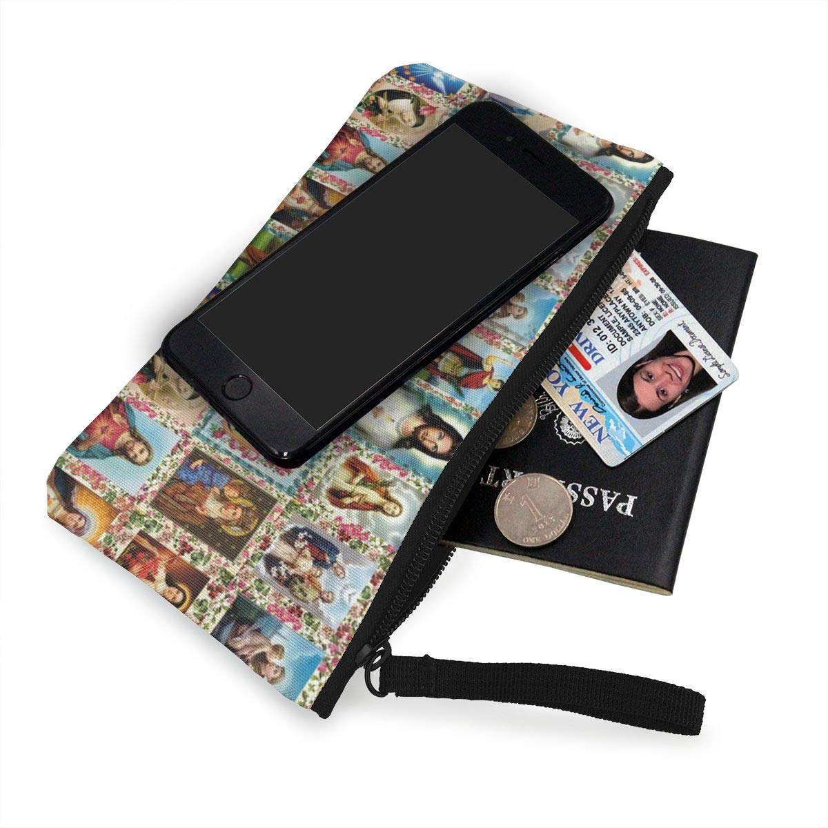 Make Up Bag,Cellphone Bag With Handle Catholic Saints Images Collage Outh Zipper Canvas Coin Purse Wallet