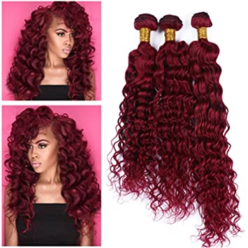 Amazon Com Tony Beauty Hair Brazilian Burgundy Red Human Hair 3pcs Deep Curly Wave Virgin Hair Weave Bundles 99j Wine Red Human Hair Extensions Double Wefts 10 30 Inch 10 10 10 Beauty