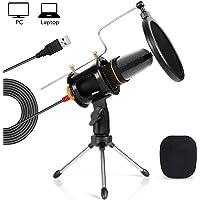 Tonor Kondensator Mikrofon USB Podcast Studio Microphone für PC Laptop Computer - einfaches Plug and play (Schwarz4)