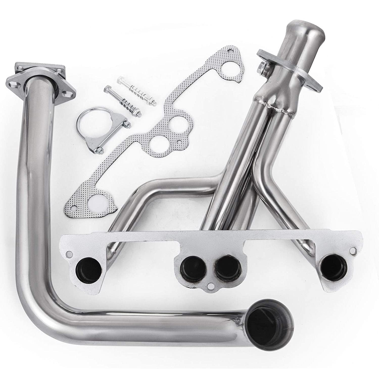 Mophorn High Performance Stainless Steel Exhaust Manifold Header Downpipe features 4-1 piping design for Jeep Wrangler YJ L4 2.5L 1991-1995