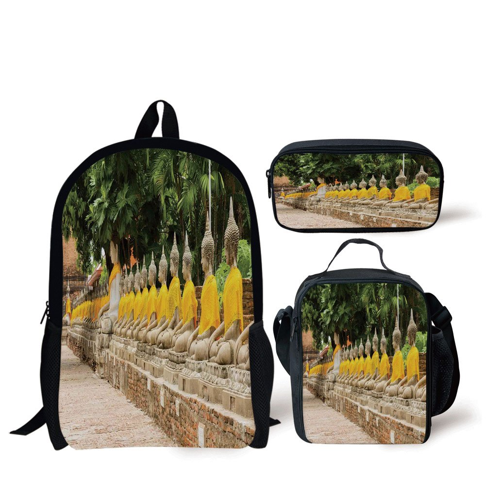 iPrint Schoolbags Lunch Bags,Asian Decor,Picture Religious Statues in Thailand Traditional Thai Home Decor Decorative,Cream Yellow Green,Bags,Two Piece Set