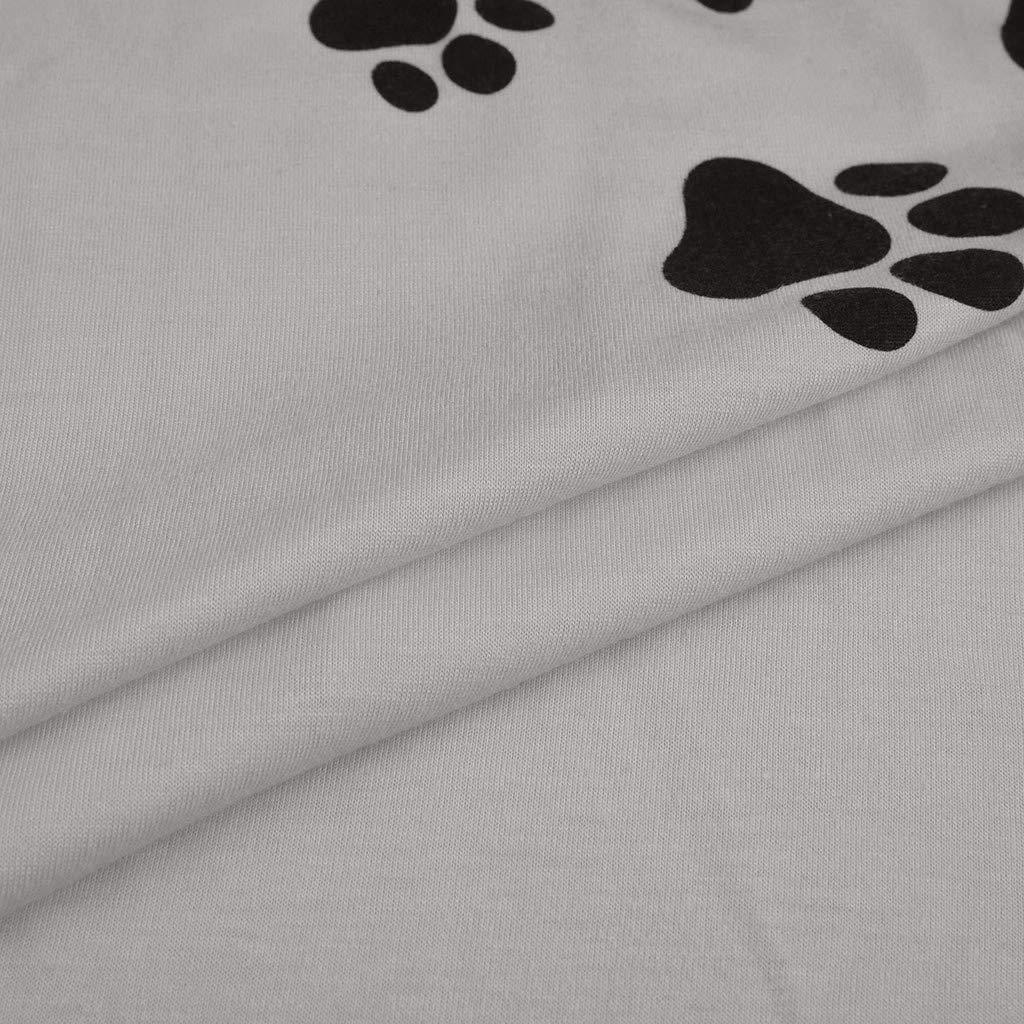 Women Summer Casual Cute Dog Paw Printed Tshirt Dress Spaghetti Strap Beach A-Line Mini Dress(M,Gray-2) by Sinohomie (Image #6)