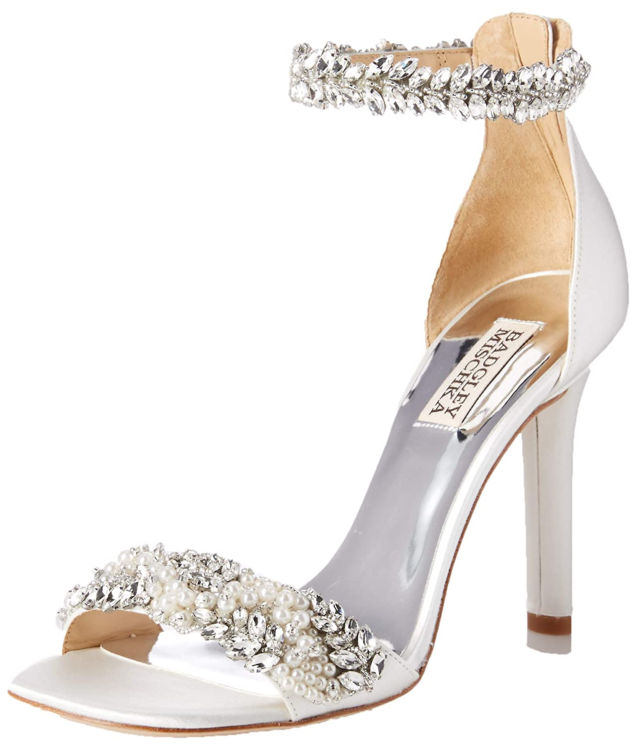 White Satin Badgley Mischka Womens Fiorenza Heeled Sandal