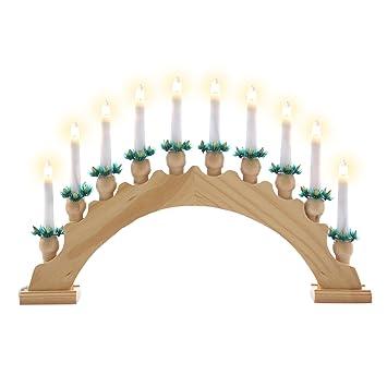 Weihnachtsdeko Schwibbogen.Nipach Gmbh Schwibbogen Aus Holz Braun 10 Lichter Leuchtfarbe Weiß Leuchtbogen Lichterbogen Rundbogen Adventsleuchter Weihnachtsbeleuchtung