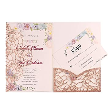 Amazon Com Feiyi 1 Pc Laser Cut Invitations Cards Sample