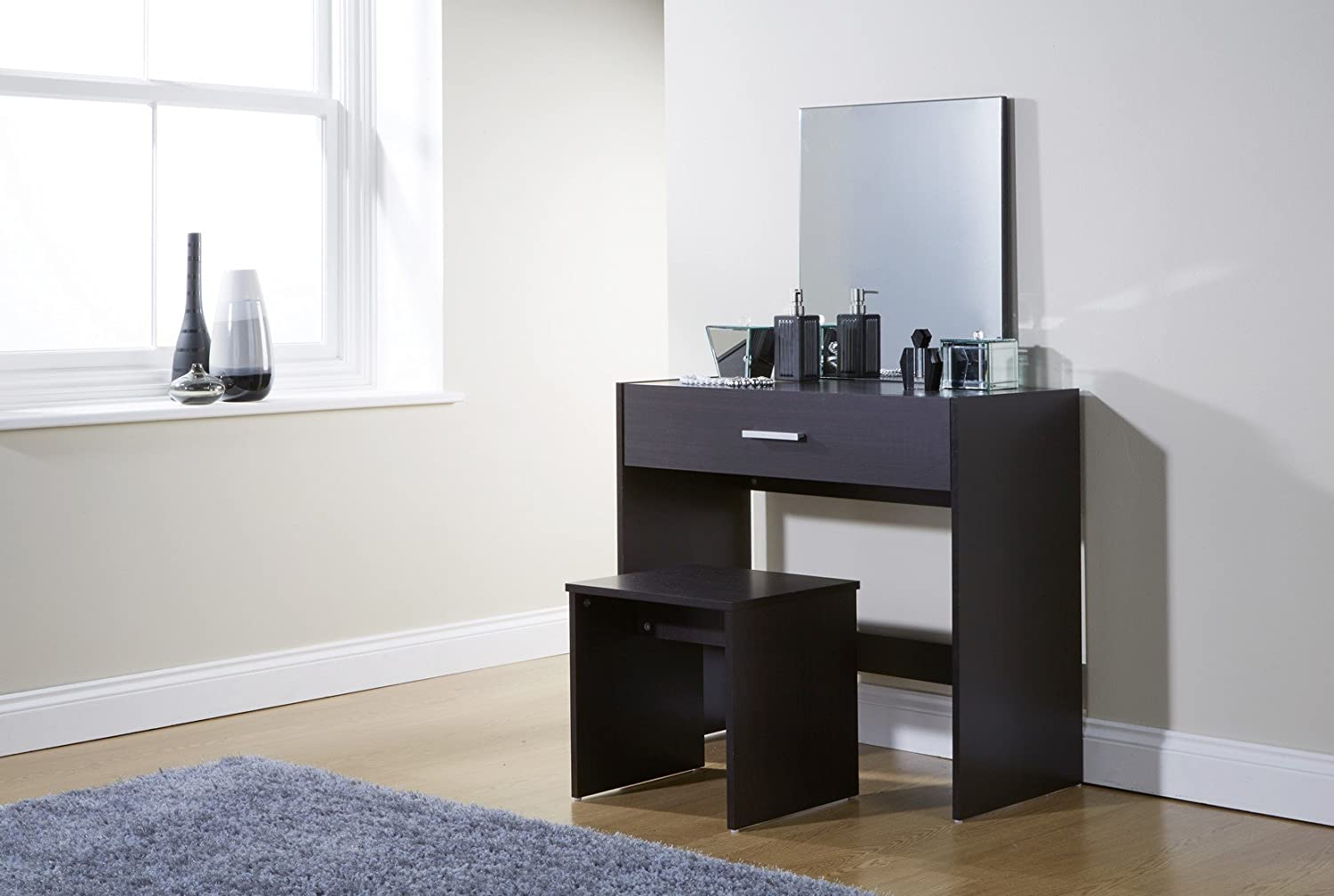 Home Source Julia Dressing Table Set Stool Mirror, MDF/Chipboard, Espresso,  132 X 82 X 39 Cm: Amazon.co.uk: Kitchen U0026 Home