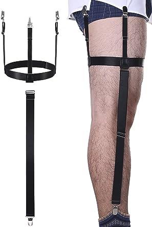 2 Piezas Tirante de Camisa de Hombres Liga de Camisa Desmontable Elástica Ajustable con Clips Antideslizantes para Traje, Vestido o Uniforme (Negro): Amazon.es: Ropa y accesorios