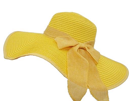 d2f6b2f57dd Roffatide UPF50+ Women s Foldable Bowknot Straw Floppy Wide Brim Sun Hat  Beach Cap Muti Colors Lemon