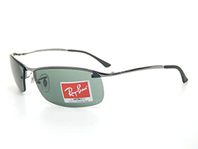 New Ray Ban Top Bar RB3183 004/71 Gunmetal/ Green 63mm Sunglasses