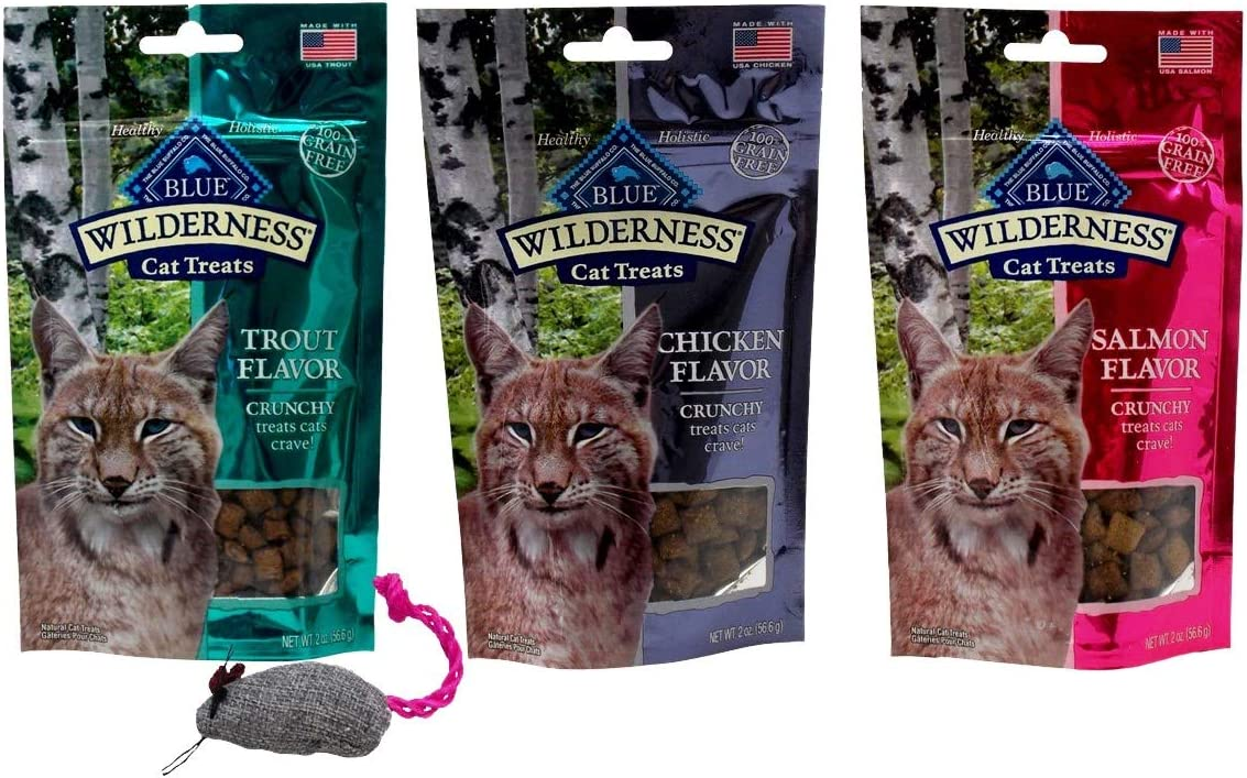 Blue Wilderness Grain Free Crunchy Treats for Cats 3 Flavor Variety with Toy Bundle, 1 Each Trout, Chicken, Salmon 2 Ounces