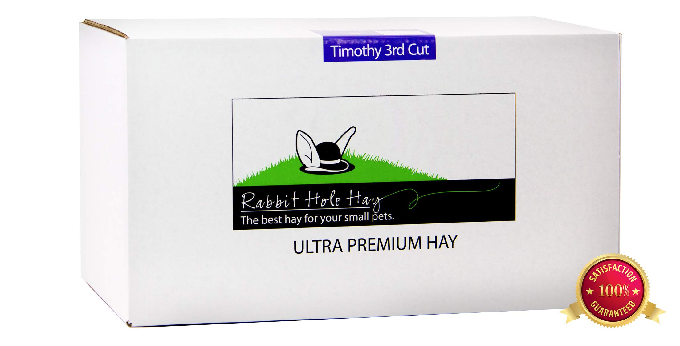 Rabbit Hole Hay Ultra Premium, Hand Packed Third Cut Timothy Hay for Your Small Pet Rabbit, Chinchilla, or Guinea Pig (20 lbs.)