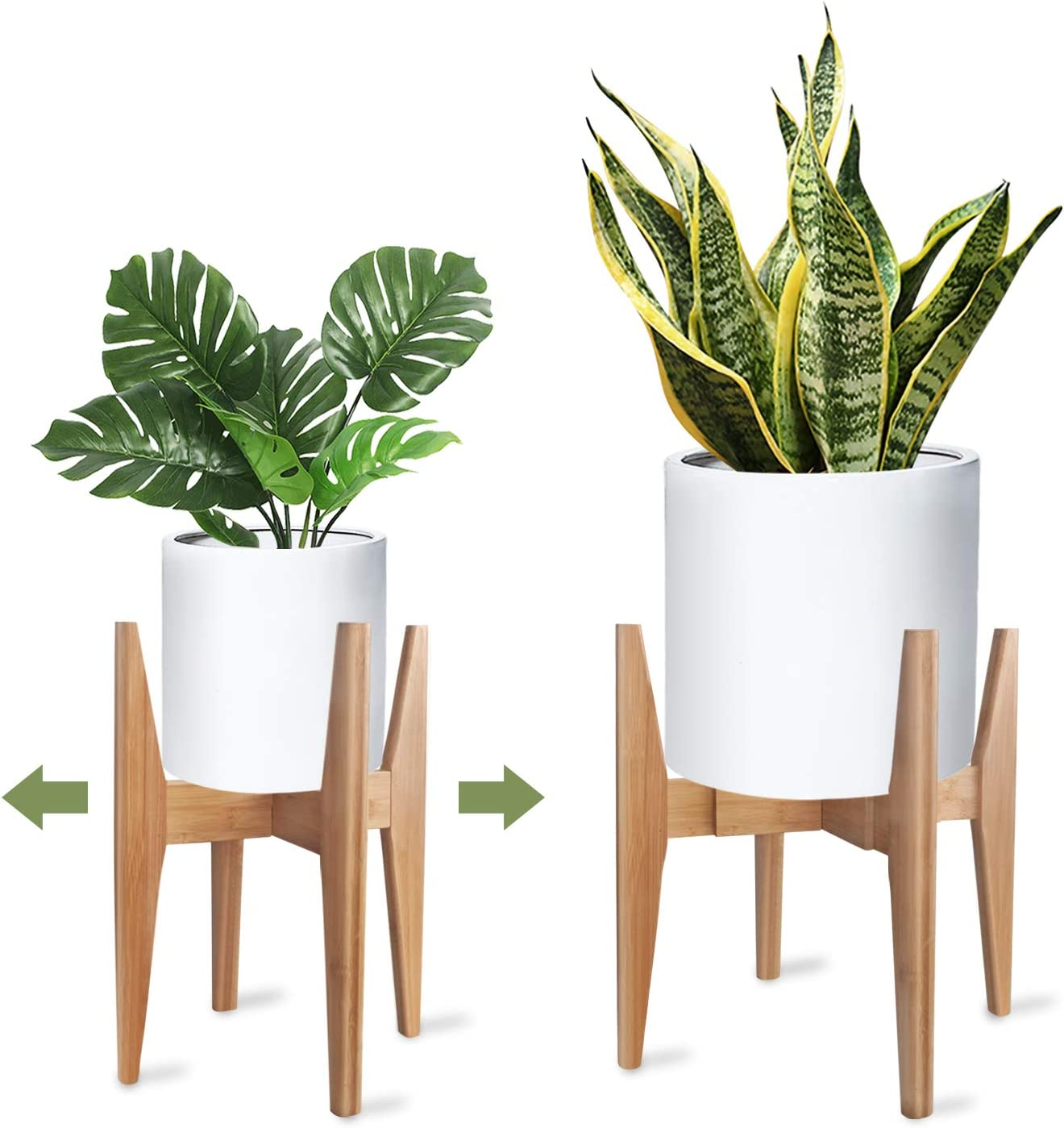 POT NOT INCLUDED Modern Plant Stand Indoor Wood Potted Holder White Minimalist Display Plant Stool for Living Room Bedroom Adjustable for pots from 10 to 13 Inches
