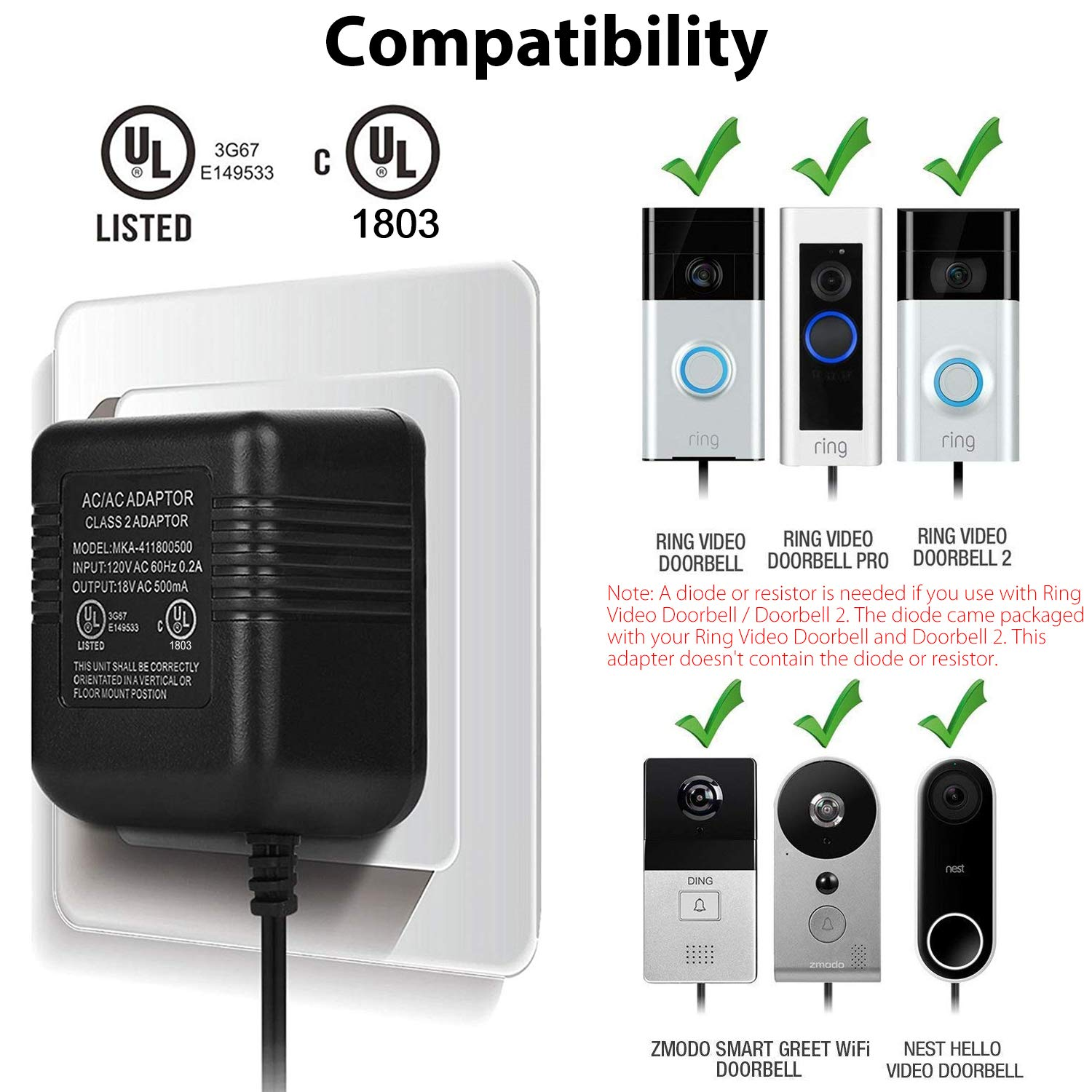 Sunjoyco Power Supply Adapter for Ring Video Doorbell, Ring Doorbell 2,  Ring Doorbell Pro, Nest Hello Doorbell Charging Adapter Transformer with  20FT