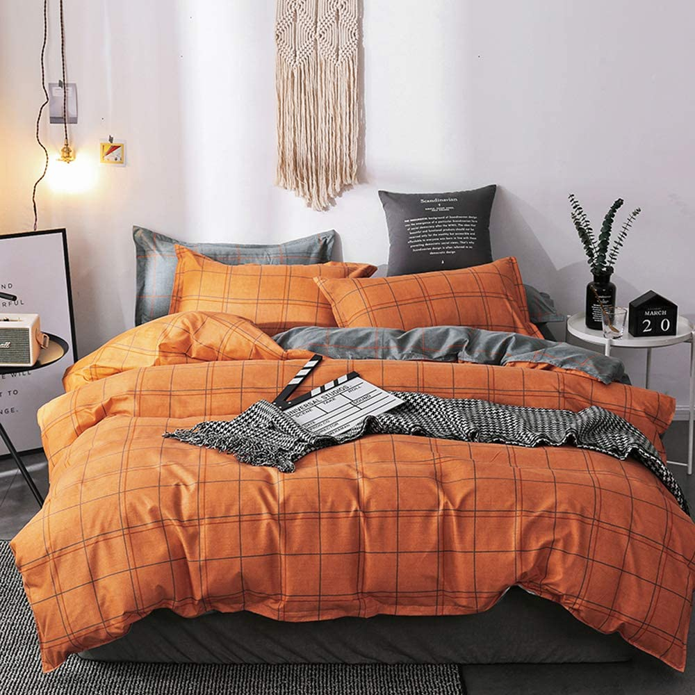 Nattey Simple Duvet Cover Set with Zipper Bedding Set (Queen, Orange Grid)