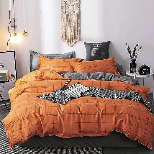 Amazon.com: Mengersi Orange Grid Bedding Duvet Cover Set,Simple