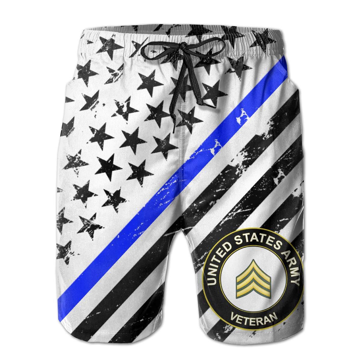 ThreeAlclo US Army Sergeant Veteran Summer Swim Trunks 3D Print Beach Board Shorts for Men