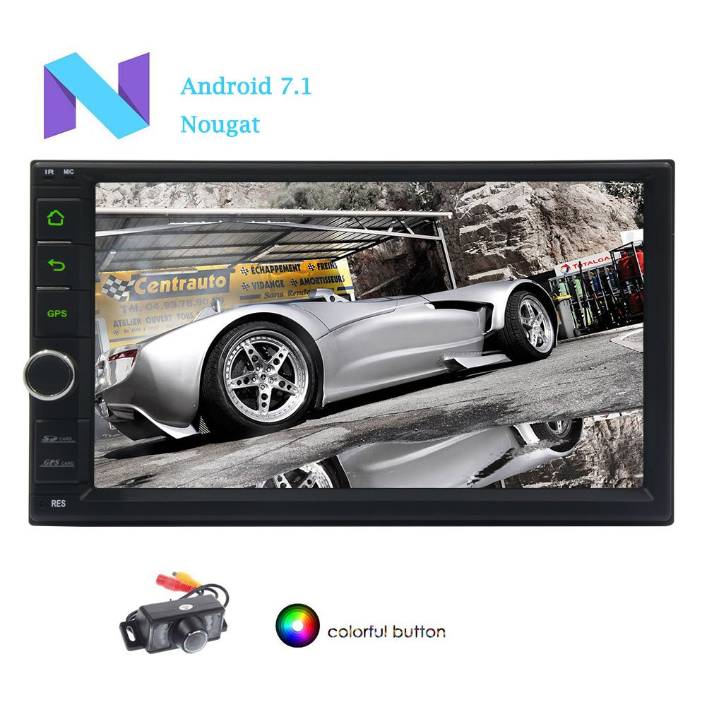 車のバックミラーカメラとダッシュ2ディンカーエンターテイメントビデオ音楽MP3プレーヤーGPSナビゲーションユニット/ WIFI / BT /ミラーリンクカーPCタブレットでEinCarラジオ7インチのAndroid 7.1 OSカーナビゲーションステレオ B0778VPJXQ