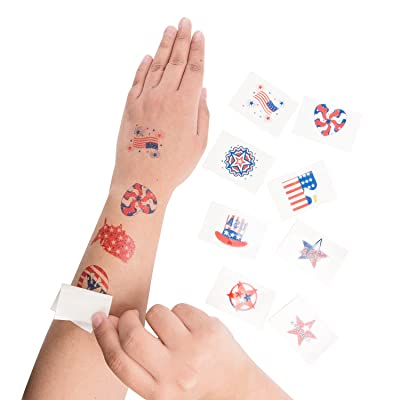 """Super Z Outlet 1.5"""" Patriotic American Flag Colorful Theme Washable Temporary Tattoos for Children & Adults, Face Art, Mini Stick Peel On & Off (144 Pieces): Toys & Games"""