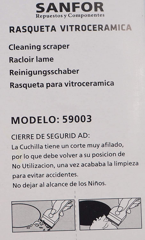 Sanfor 59003 Rasqueta Limpia Vitro, Acero Inoxidable ...