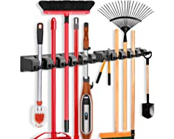 2 Pack Imillet Mop and Broom Holder, Wall Mounted Organizer Mop and Broom Storage Tool Rack with 5 Ball Slots and 6 Hooks (Bl