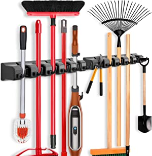 2 Pack Imillet Mop and Broom Holder, Wall Mounted Organizer Mop and Broom Storage Tool Rack with 5 Ball Slots and 6 Hooks (Black)