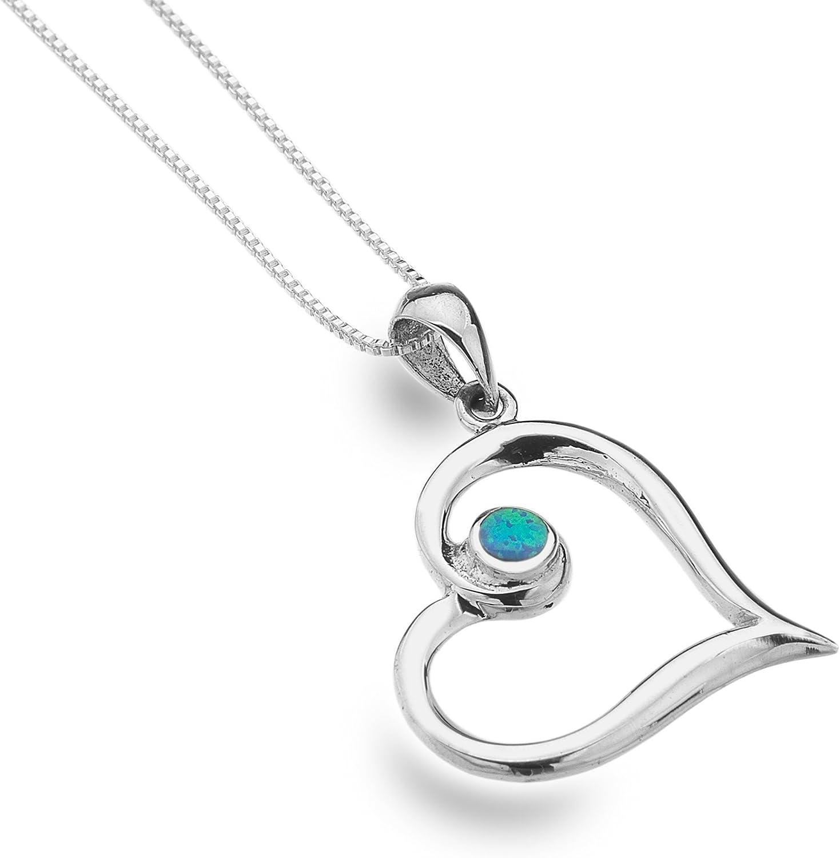 Pendientes de Gemas de mar de plata azul ópalo colgante de corazón 45cm cadena–fabricado en Reino Unido–Hallmarked