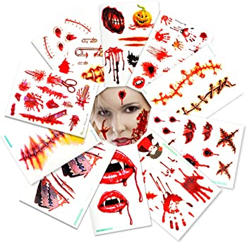 10Pk. Geekper Halloween Bloody Scar Tattoo