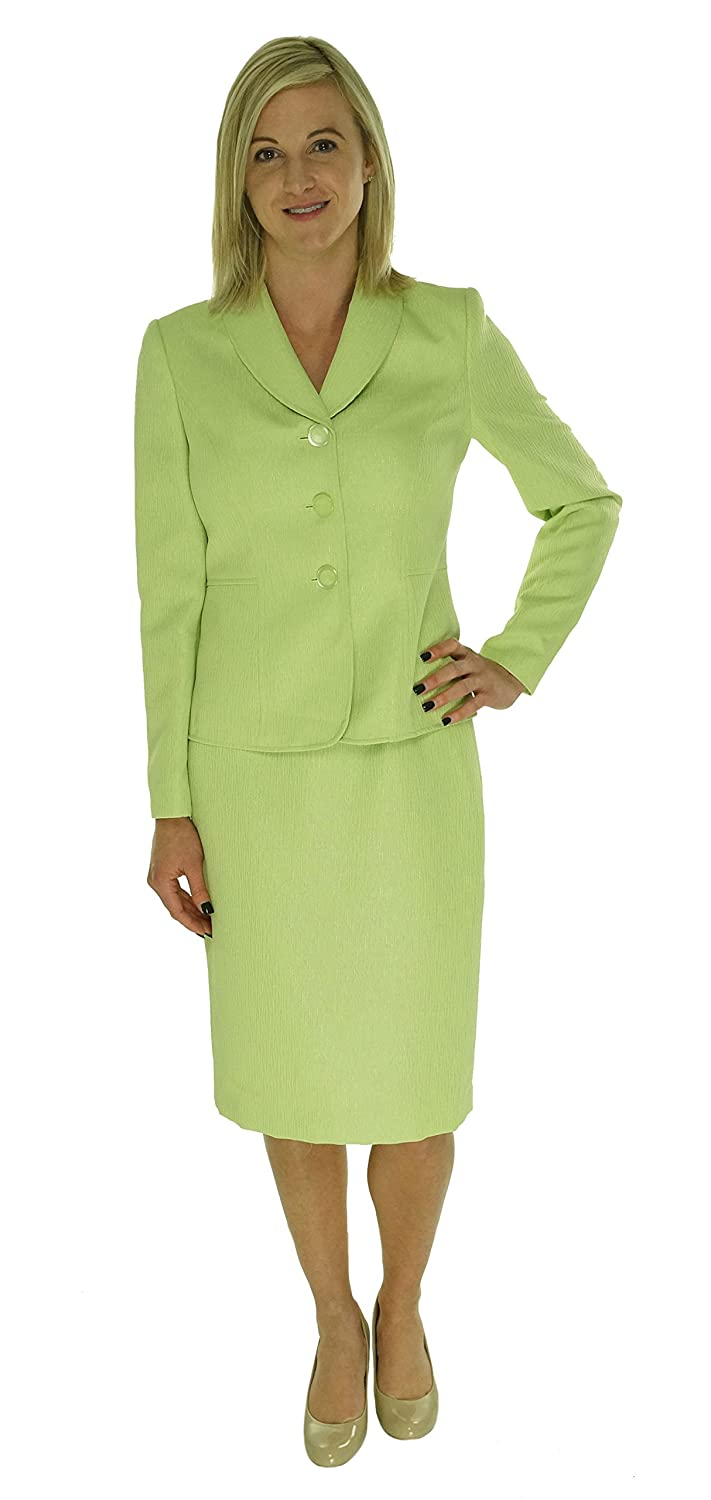 LeSuit Women's 3 Button Jacket and Skirt Suit Set Lime 8 Le Suit Women' s Suits 50032367
