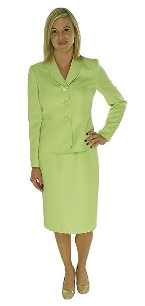 Amazon.com: Le Suit Traje 3 botones chamarra y falda para ...