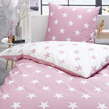 Trend Bettwäsche Set Sterne Rosa Weiß Wendeoptik 100 Baumwolle