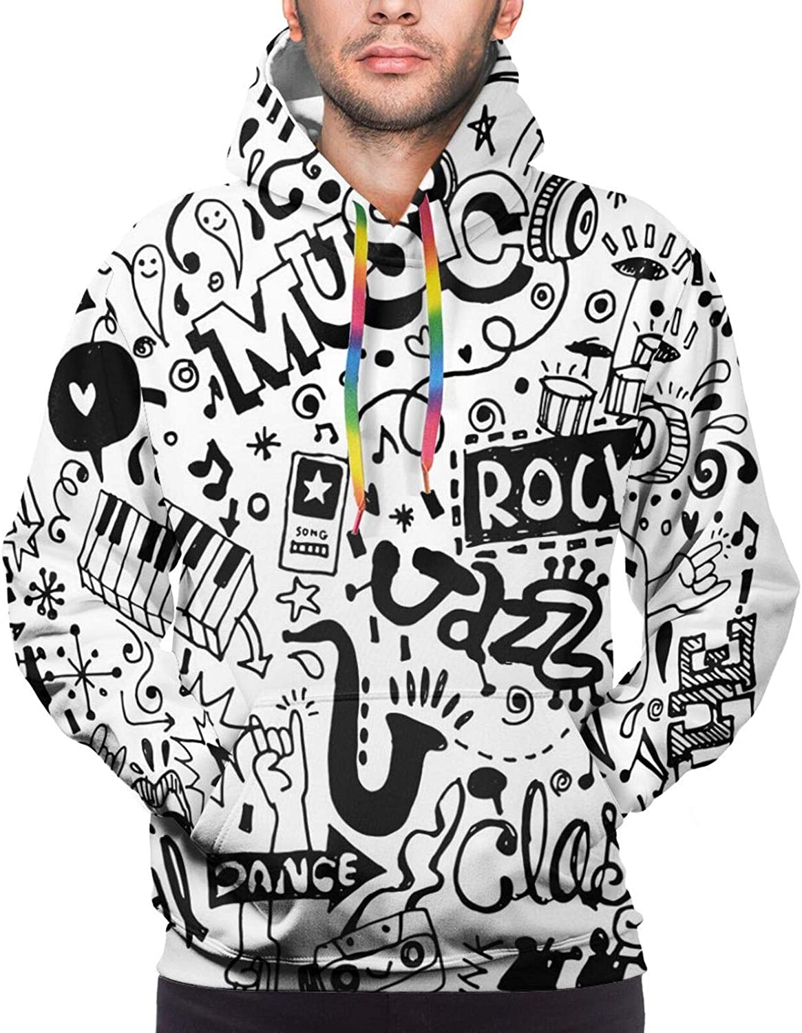 Men's Hoodies Sweatshirts,Music Themed Motif with An Abstract Drawing Rock Jazz Blues Genre Classic Dancing