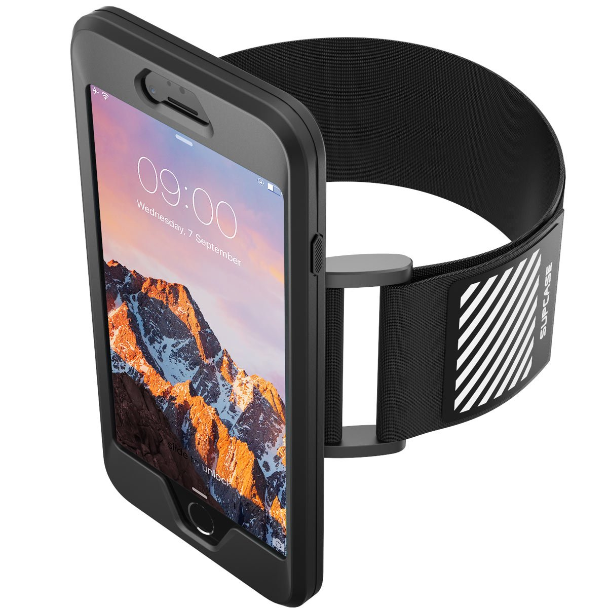 iPhone 7 Plus Armband, iPhone 8 Plus Armband, SUPCASE Easy Fitting Sport Running Armband Case with Premium Flexible Case Combo for Apple iPhone 7 Plus 2016 / iPhone 8 Plus 2017 (Black) by SUPCASE (Image #3)