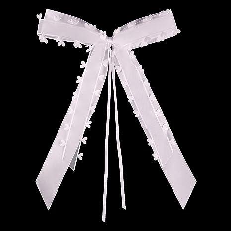 50XAntennenschleifen Weiß Mit Herzen Auto Schleifen Schmuck Hochzeit Deko Ribbon