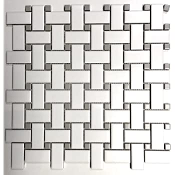 1x2 Matte Finish White And Gray Basketweave Porcelain Mosaic Walls