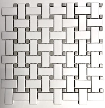 1x2 Matte Finish White and Gray Basketweave Porcelain Mosaic Walls ...