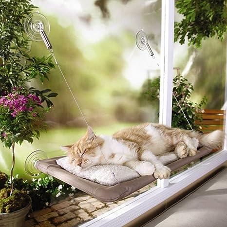 Langlee® Asiento de ventana del gato, ventana montada hamaca para gato con ventosas 55